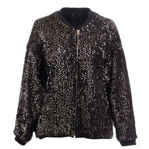 Fur and Sequin Bomber Jacket Size L